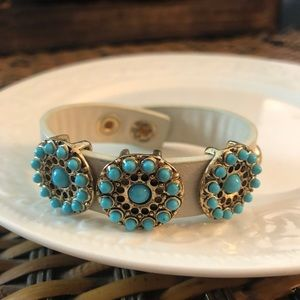 Vintage Leather Bracelet, Turquoise Colored Charms